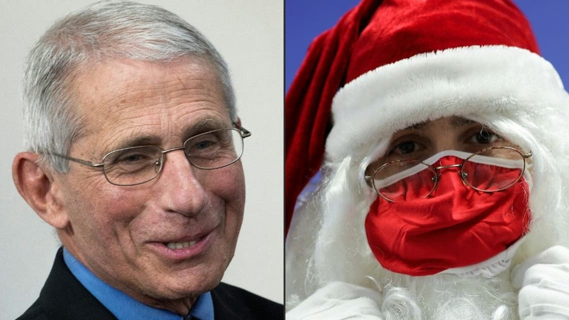 This combination of pictures created on December 19, 2020 shows Director of the National Institute of Allergy and Infectious Diseases Anthony Fauci and a man dressed as Santa Claus wearing a red face mask. (AFP)