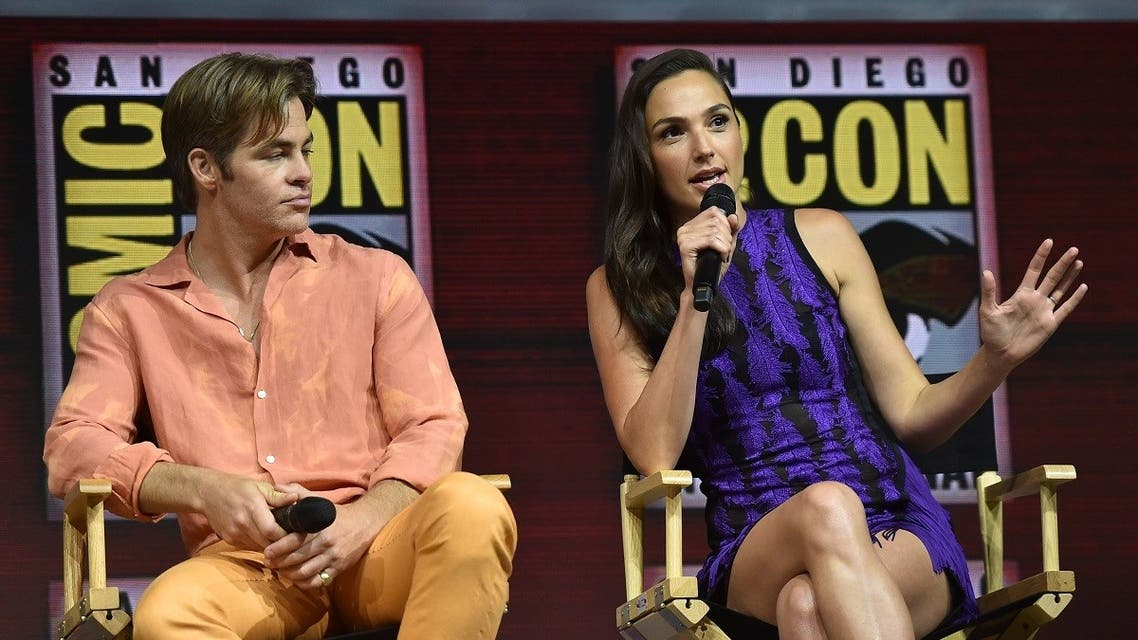 Chris Pine and Gal Gadot participate in the Warner Bros. Theatrical Panel for Wonder Woman 1984 during Comic Con in San Diego, July 21, 2018. (AFP)