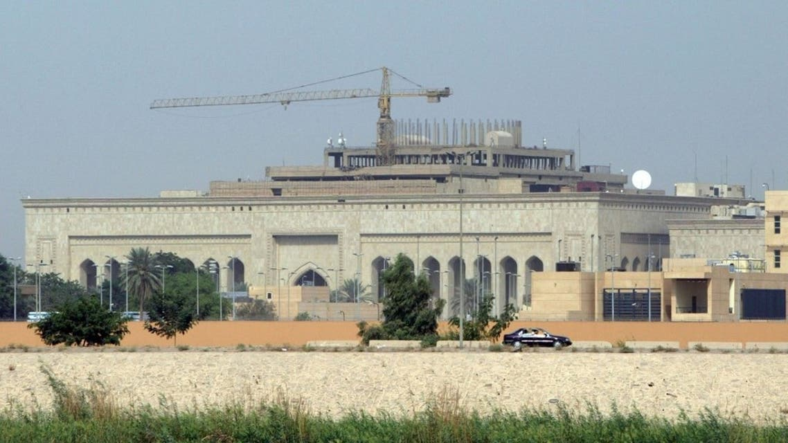 This file photo taken on October 11, 2007 shows in the forefront the US embassy complex in Baghdad in the heavily fortified Green Zone. (AFP)
