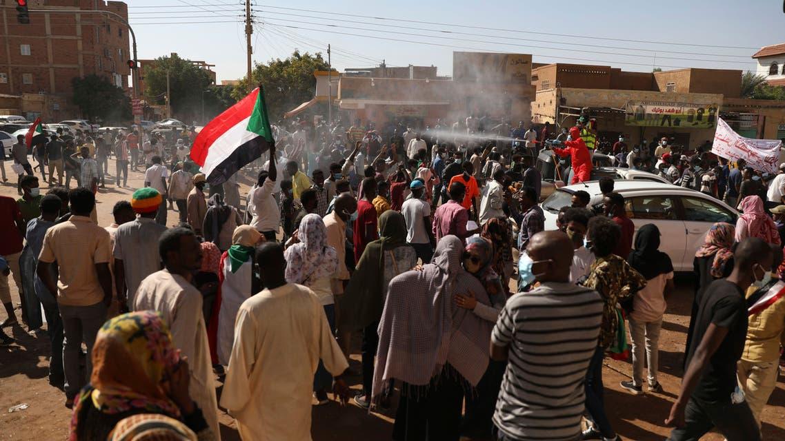 Protesters gather in Khartoum, Sudan, Saturday, December 19, 2020. (The Associated Press/Marwan Ali)