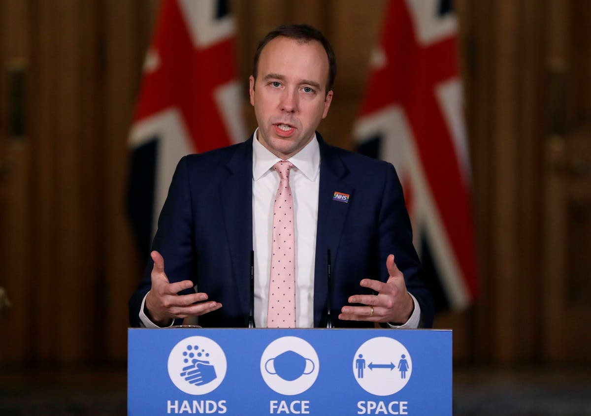 Britain's Health Secretary Matt Hancock, speaks on further restrictions to be put in place due to the ongoing coronavirus pandemic at a news conference inside 10 Downing Street in London, Britain, on December 23, 2020. (Reuters)