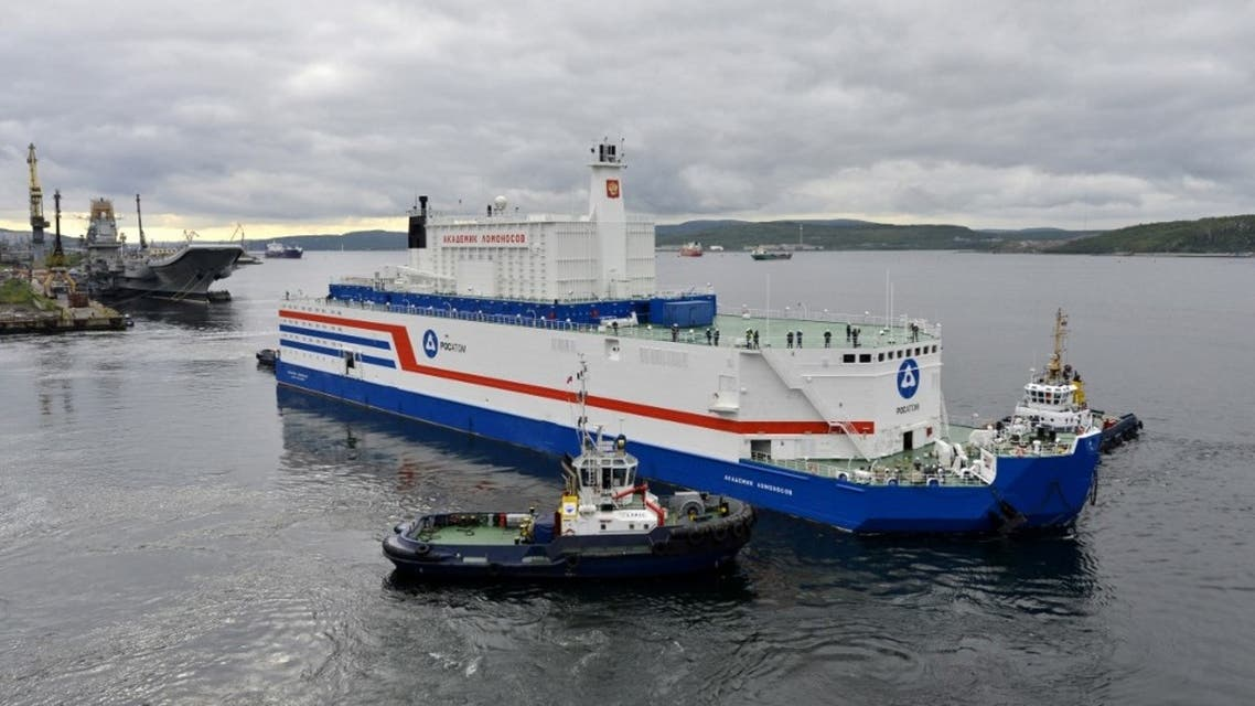 This handout picture taken and released on August 23, 2019, by the Russian nuclear agency ROSATOM shows the floating power unit (FPU) Akademik Lomonosov being towed from the Arctic port of Murmansk, northwestern Russia. (AFP)