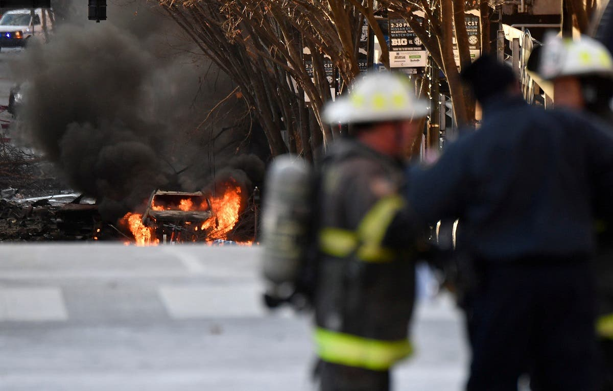 A vehicle burns near the site of an explosion in the area of Second and Commerce in Nashville. (File photo: Reuters)