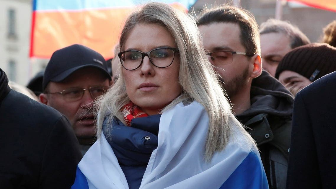 Russian opposition figure Lyubov Sobol takes part in a rally to mark the 5th anniversary of opposition politician Boris Nemtsov's murder and to protest against proposed amendments to the country's constitution, in Moscow, Russia February 29, 2020. (Reuters)