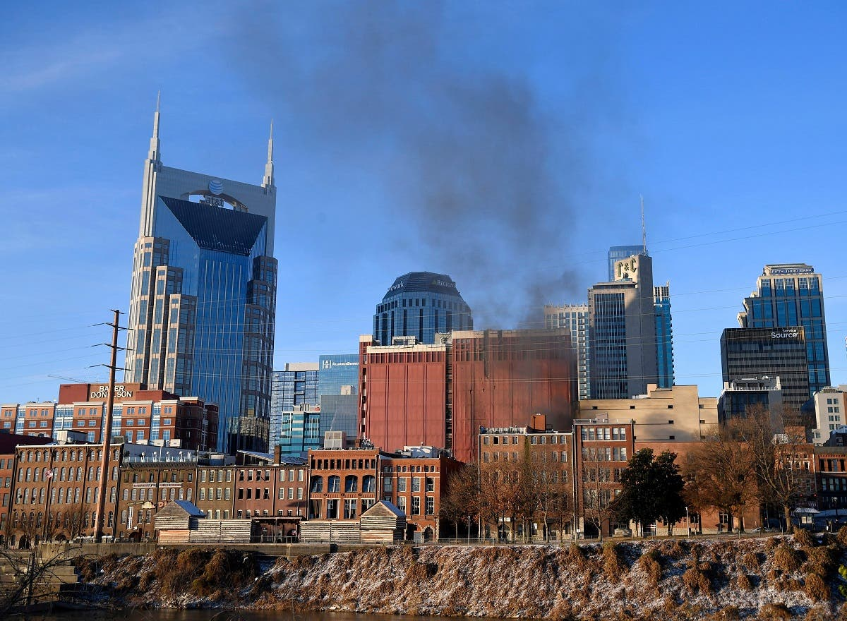 Smoke billows from the site of an explosion in the area of Second and Commerce in Nashville. (Reuters)