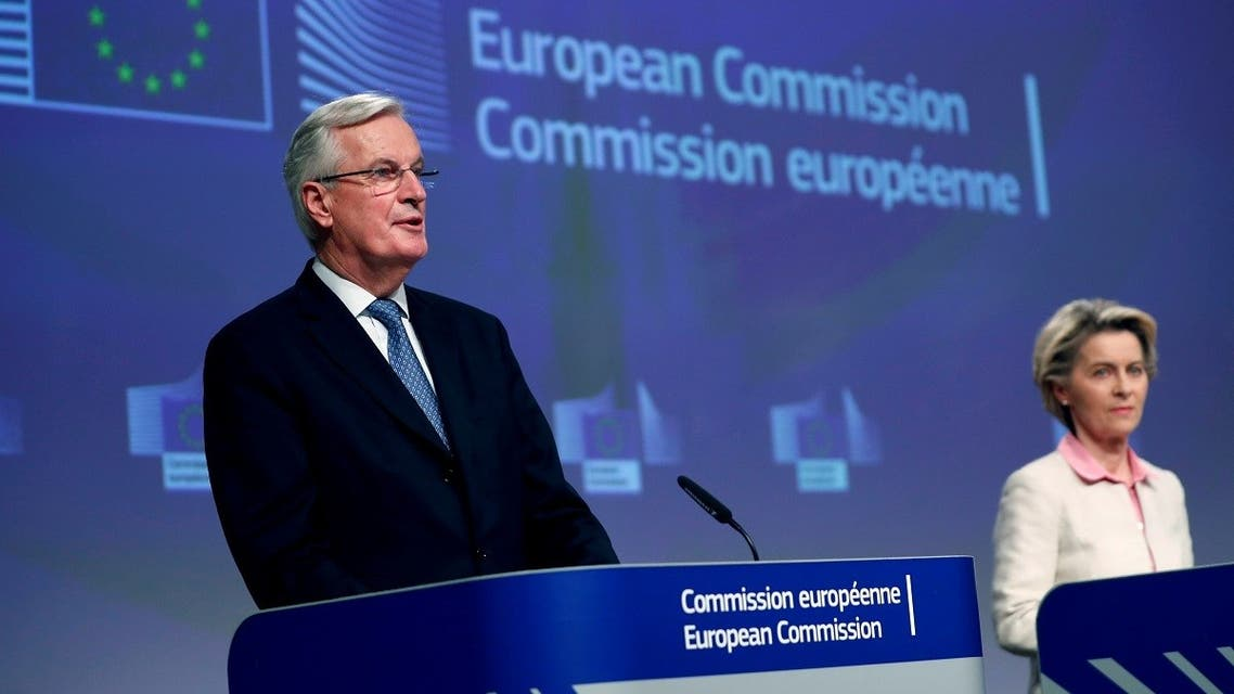 European Union's chief Brexit negotiator Michel Barnier gives a statement on the outcome of the Brexit negotiations next to European Commission President Ursula von der Leyen, in Brussels, Belgium, on December 24, 2020. (Reuters)