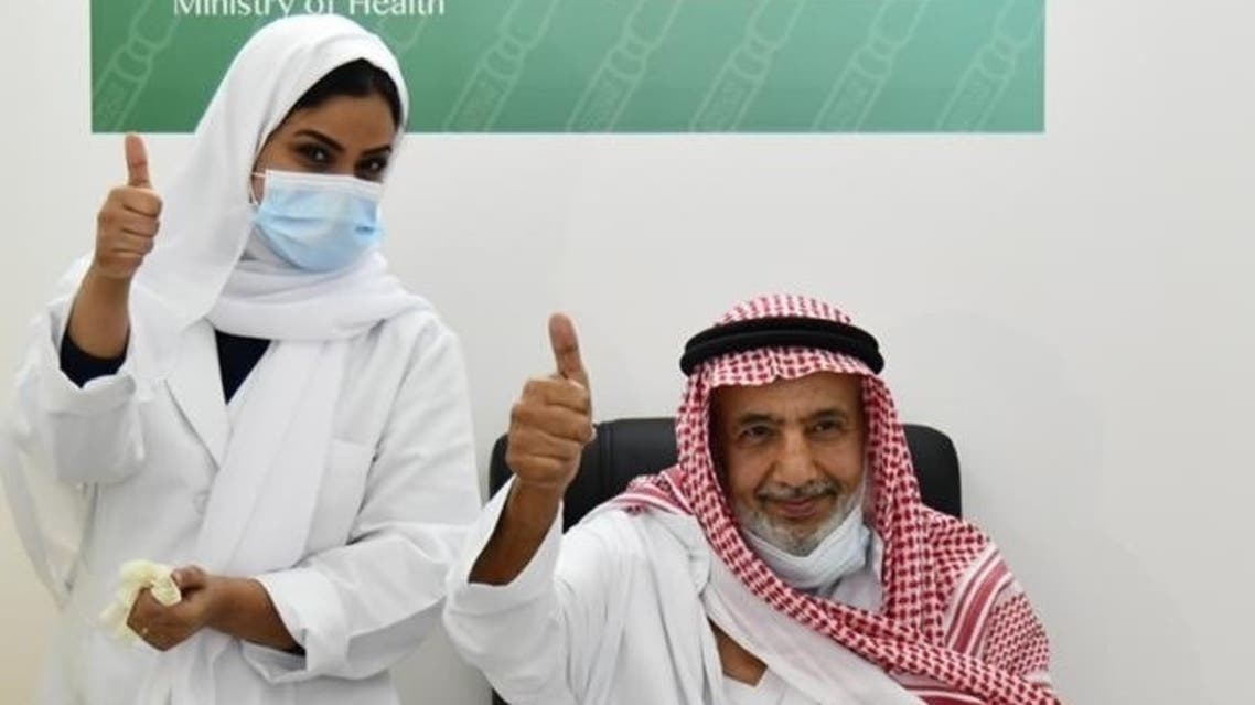 A Saudi citizen receives the coronavirus vaccine in Jeddah. (Twitter/SaudiMOH)
