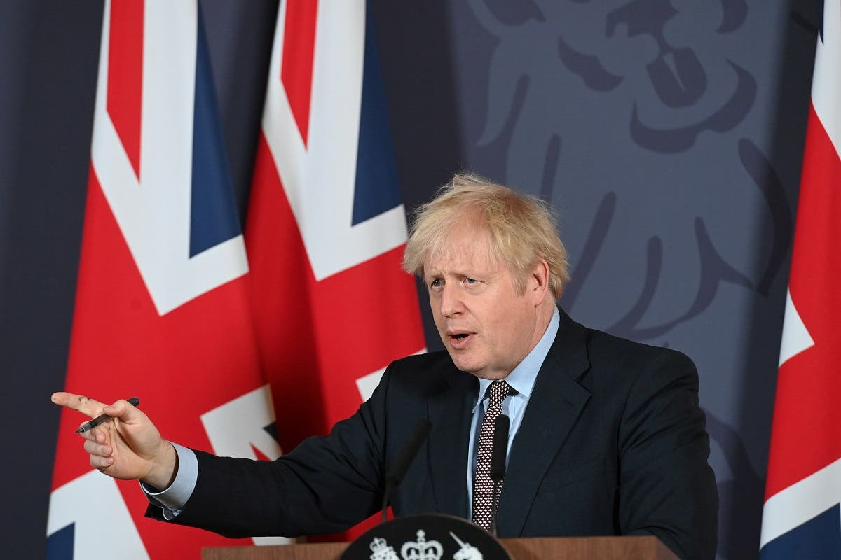 British Prime Minister Boris Johnson holds a news conference in Downing Street on the outcome of the Brexit negotiations, in London, Britain, on December 24, 2020. (Reuters)