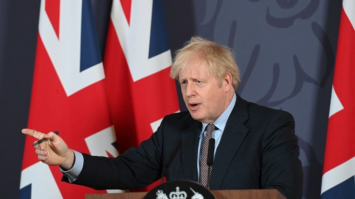 British Prime Minister Boris Johnson holds a news conference in Downing Street on the outcome of the Brexit negotiations, in London, Britain December 24, 2020. (Reuters)