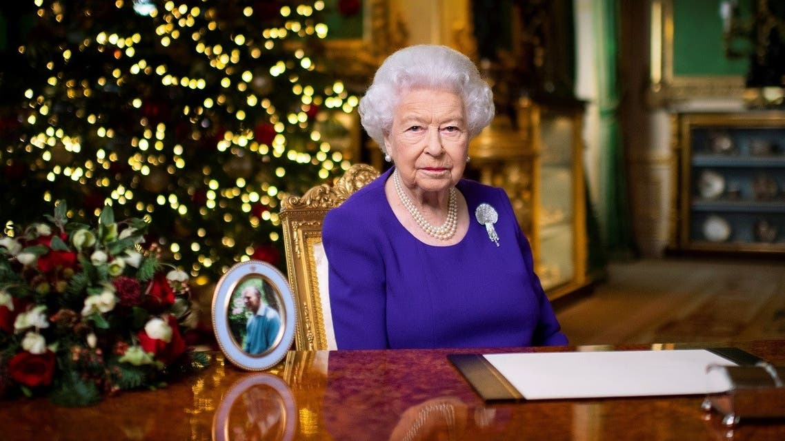 Britain's Queen Elizabeth II records her annual Christmas broadcast in Windsor Castle, Berkshire, Britain. (Reuters)