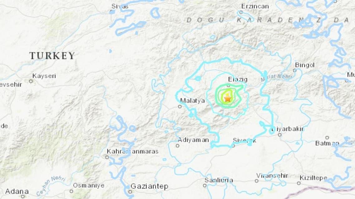 Screengrab of the 5.3-magnitude earthquake that hit Eastern Turkey. (USGS)