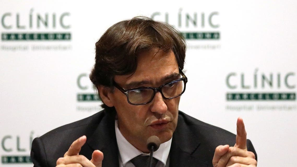 Spain's Health Minister Salvador Illa attends a news conference at Hospital Clinic in Barcelona, Spain. (File photo: Reuters)