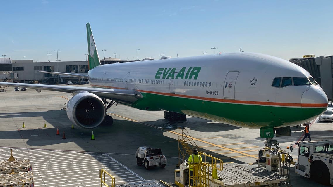 An EVA-Air plane is viewed at Los Angeles International Airport (LAX) on February 12, 2020 in Los Angeles, California. (AFP)