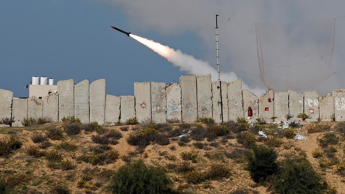 A rocket is launched by Palestinian militant groups into the Mediterranean Sea off the Gaza Strip at the start of their first-ever joint exercise, in Gaza City December 29, 2020. (Reuters/Mohammed Salem)