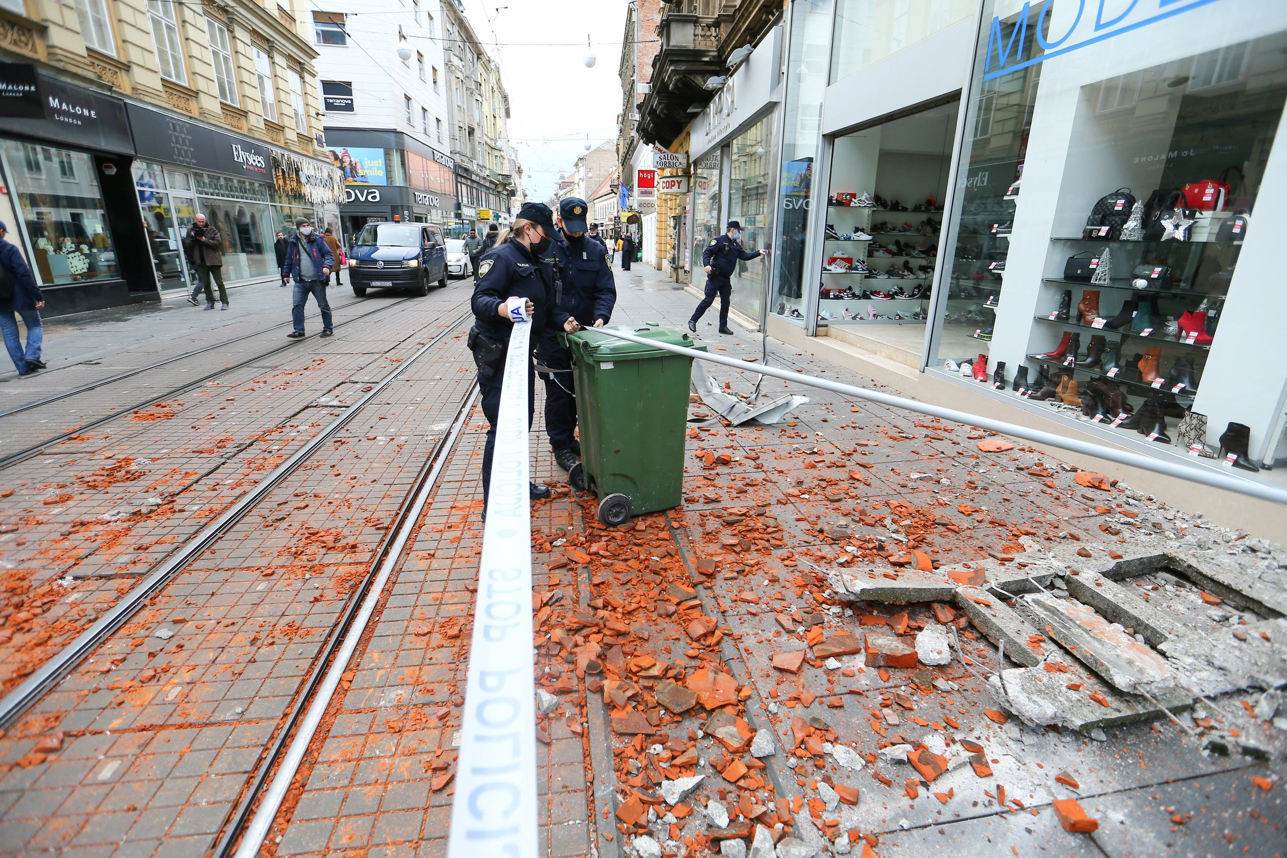 Police officers secure the area after an earthquake, in Zagreb, Croatia December 29, 2020. REUTERS/Antonio Bronic