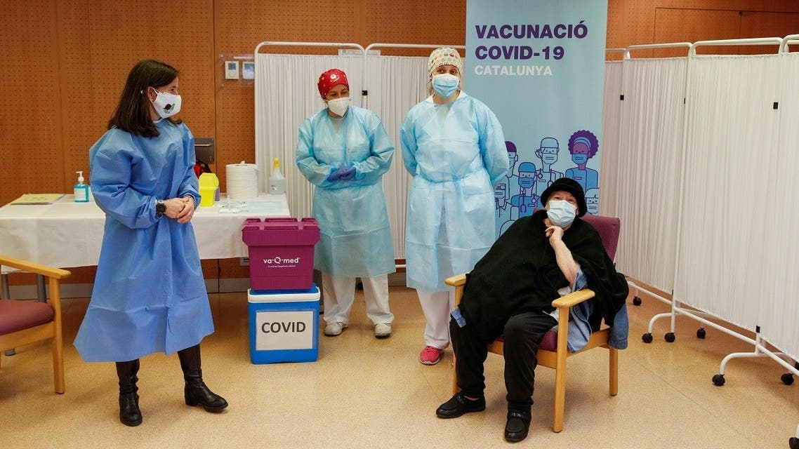 Balafia nursing home residents receive an injection with a dose of the Pfizer-BioNTech COVID-19 vaccine, in Lleida. (Reuters)