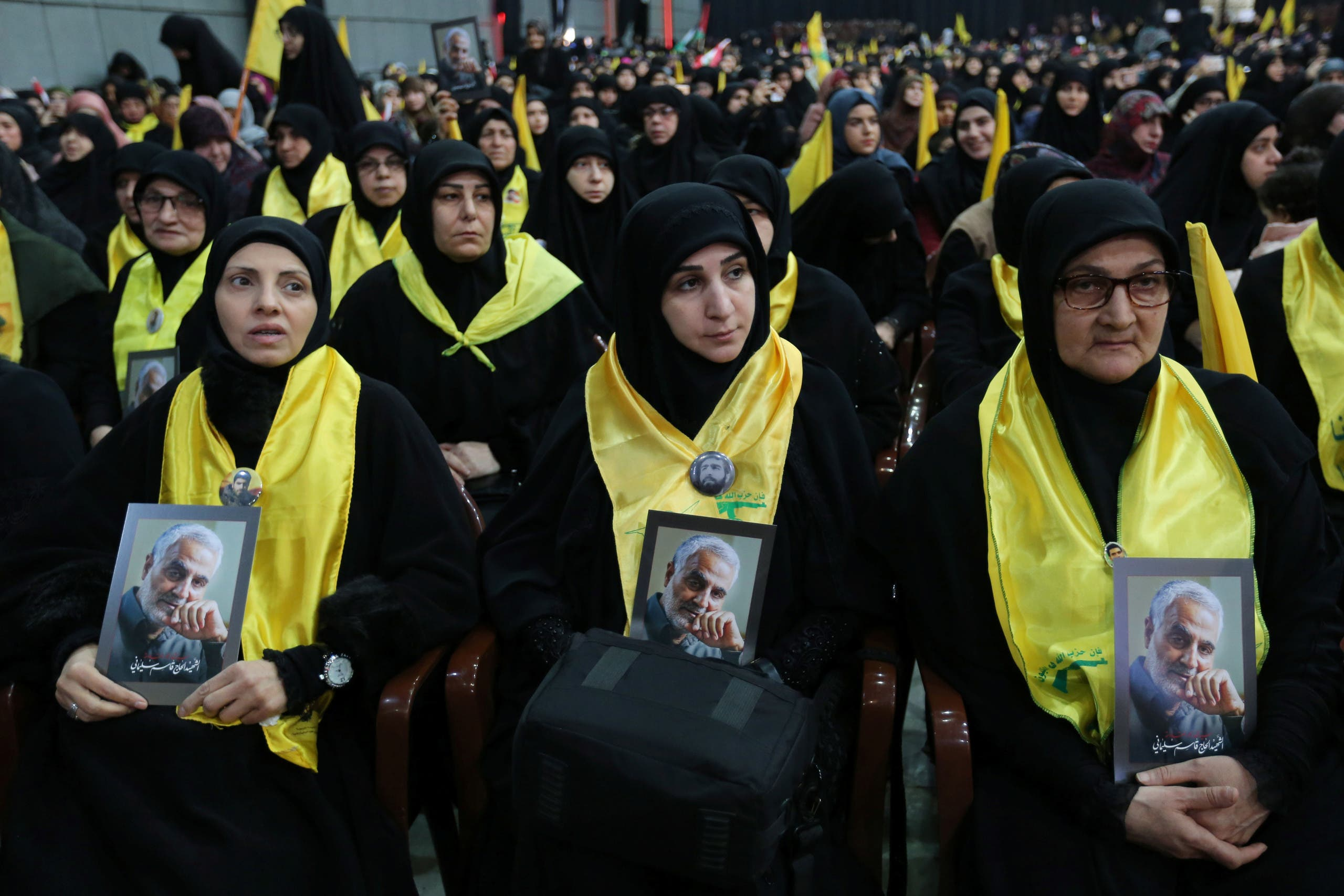 Hezbollah women carrying photos of Gospem Solomon (Archive - Reuters)