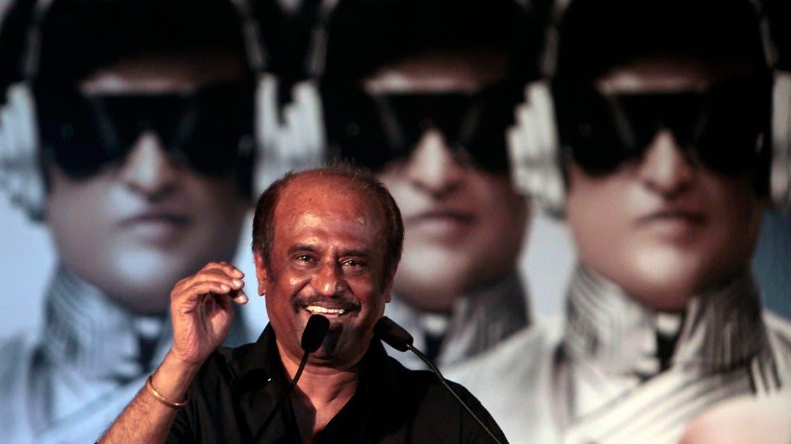 Indian movie superstar Rajnikant speaks during audio release of the film Robot in Mumbai, India. (File photo: AP)