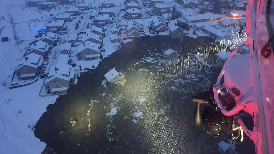 A rescue helicopter view shows the aftermath of a landslide at a residential area in Ask village, about 40km north of Oslo, Norway, on December 30, 2020. (Reuters)