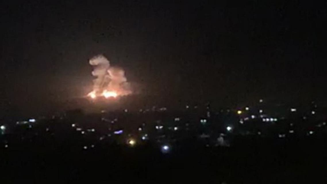 An image grab shows on November 20, 2019 smoke and fire billowing during a reported Israeli air strike on the outskirts of Damascus. (AFP)
