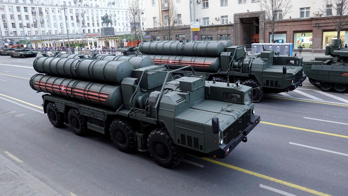 Russian servicemen sit in the cabins of S-400 missile air defence systems in Tverskaya Street before a rehearsal for the Victory Day parade, in central Moscow, Russia April 29, 2019. (Reuters)