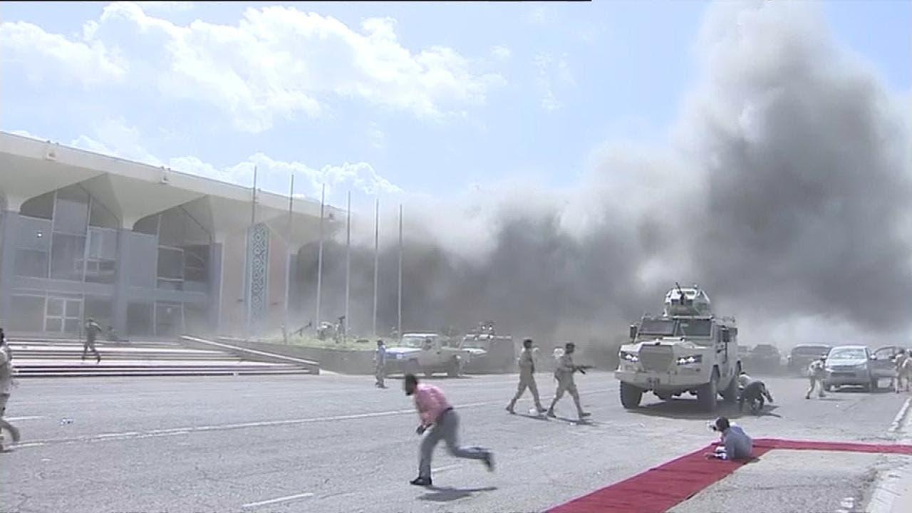 تصاویری از آثار انفجار داخل فرودگاه عدن