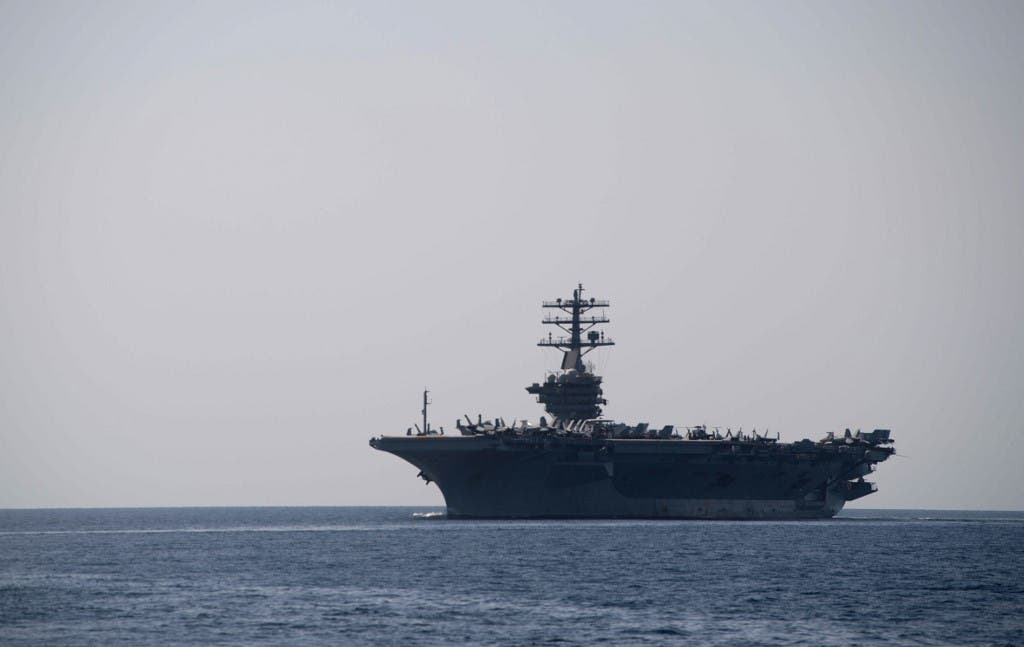The aircraft carrier USS Nimitz transits the Strait of Hormuz on September 18, 2020. (File photo: AFP)