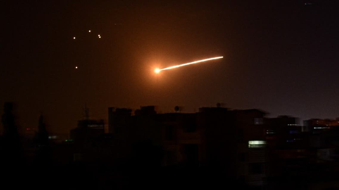 A handout picture released by the official Syrian Arab News Agency (SANA) on February 24, 2020, reportedly shows Syrian air defence intercepting an Israeli missile in the sky over the Syrian capital Damascus. (AFP)