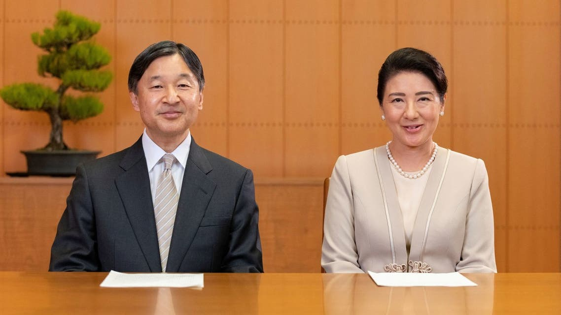 Japan's Emperor Naruhito and his wife Empress Masako, speak for their New Year video message on December 28, 2020 (Imperial Household Agency of Japan/Handout via Reuters)