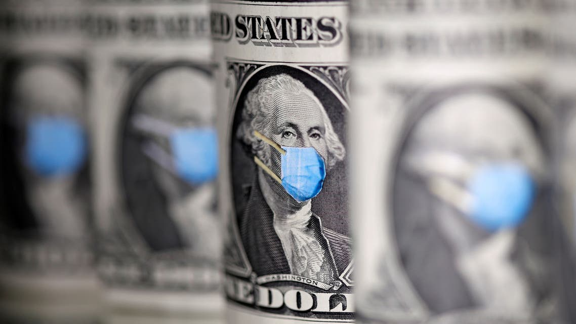 George Washington is seen with printed medical mask on the one Dollar banknotes in this illustration taken, March 31, 2020.  (Reuters)