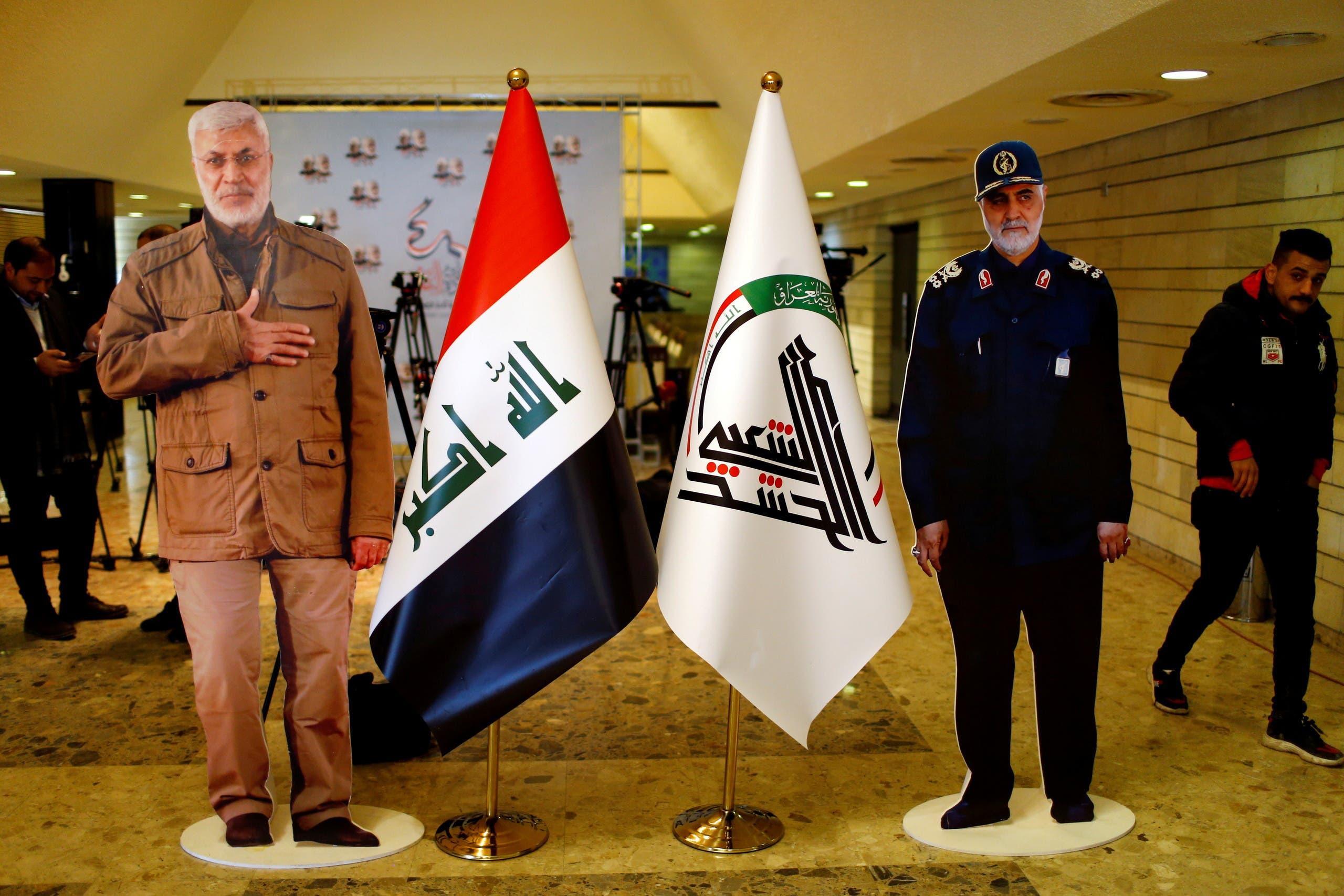 مجسمات لقاسم سليماني وأو مهدي المهندس مع قرب الذكرى الأولى لمقتلهم في غارة أميركية