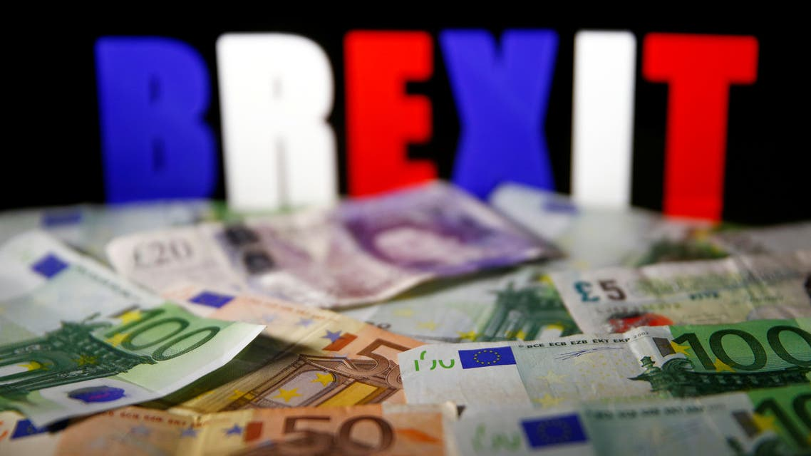 Euro and Pound banknotes are seen in front of BREXIT letters in this picture illustration taken April 28, 2017. (Reuters)