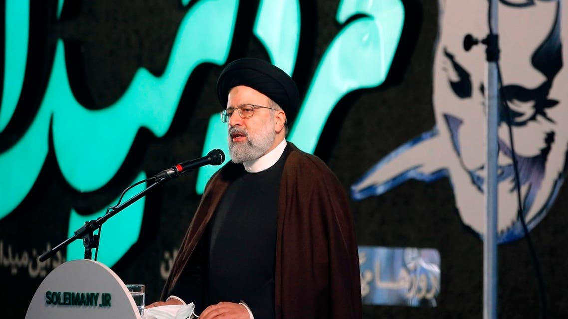 Ebrahim Raisi, head of Iran's judiciary, gives a speech during a ceremony to mark the one year anniversary of the killing of senior Iranian military commander General Qassem Soleimani in a US attack, in Tehran, Iran, on January 1, 2021. (AFP))
