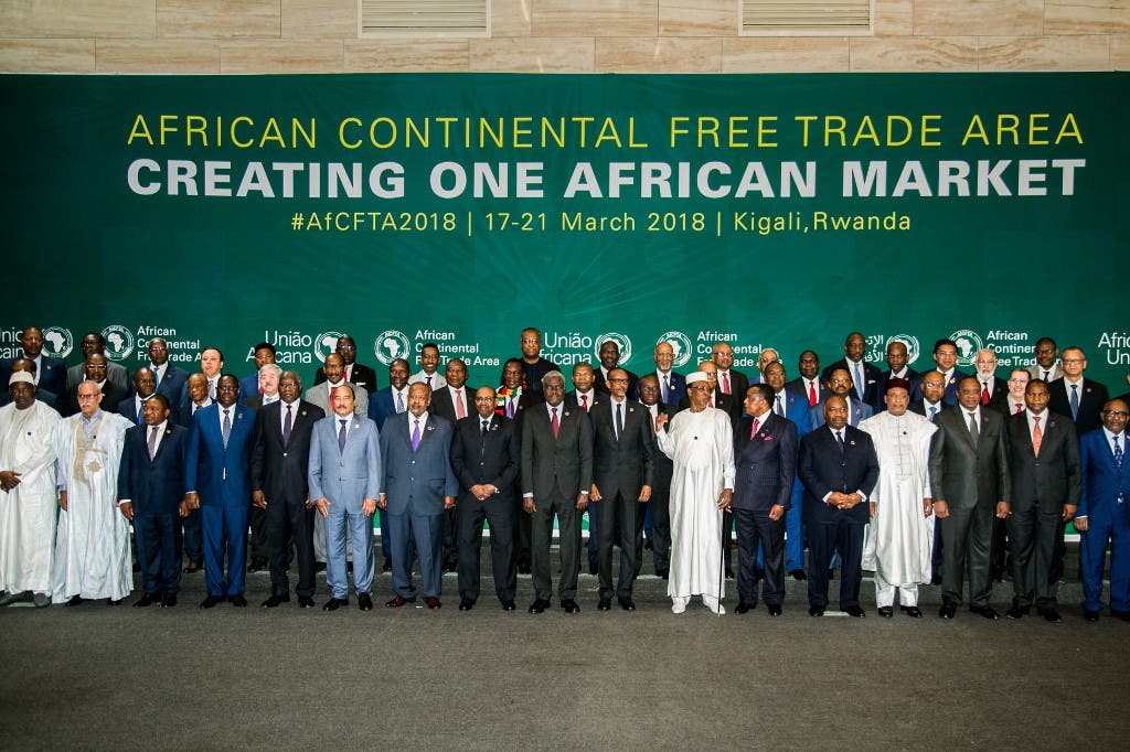 The African Heads of States and Governments pose during African Union (AU) Summit for the agreement to establish the African Continental Free Trade Area in Kigali, Rwanda, on March 21, 2018. (AFP)