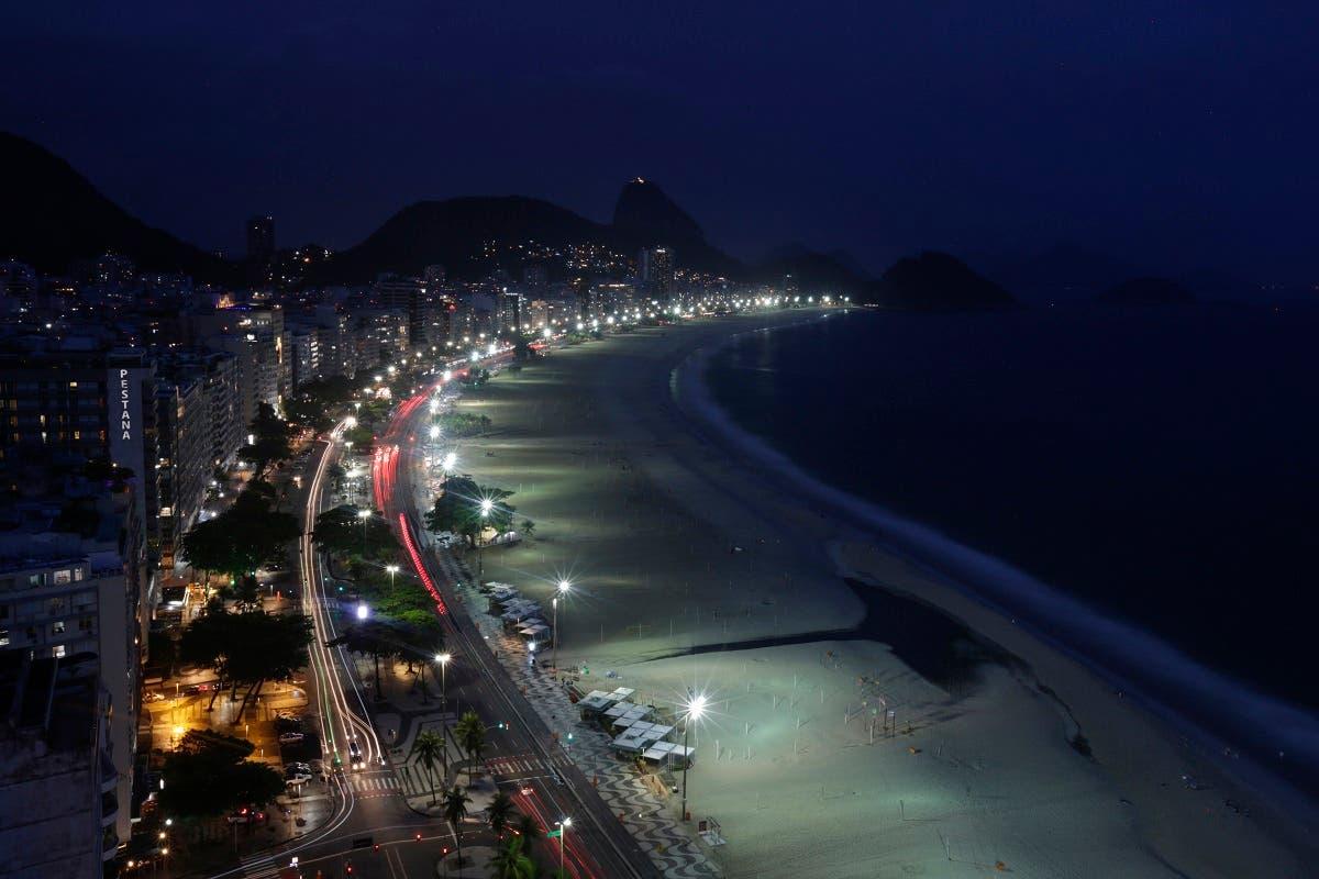 A general view of empty an Copacabana beach in Rio de Janeiro, Brazil, Thursday, Dec. 31, 2020. (AP)