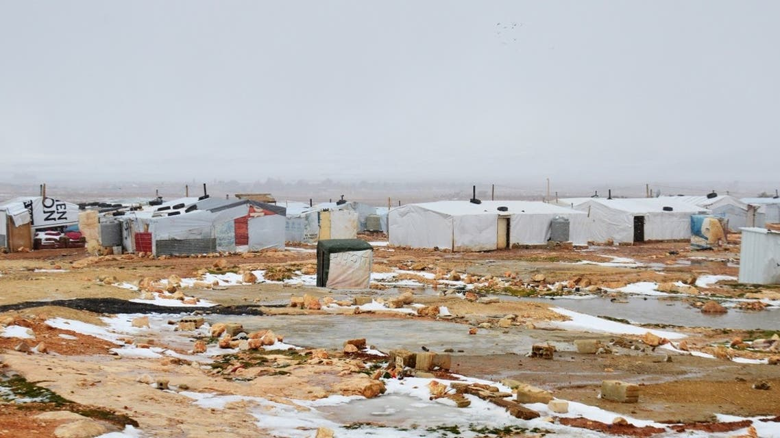Snow covers the ground on January 28, 2017, at a Syrian refugee camp on the outskirts of the eastern Lebanese city of Baalbek. (AFP)