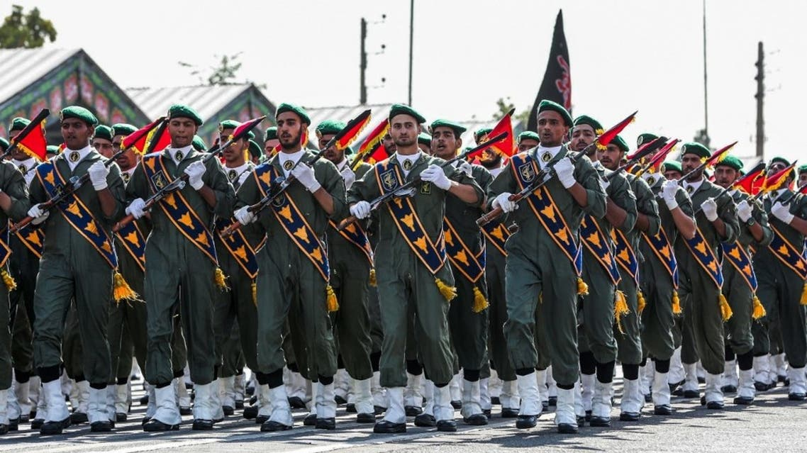 A handout picture provided by the Iranian presidency on September 22, 2019 shows members of Iran's Islamic Revolutionary Guard Corps (IRGC) marching. (AFP)