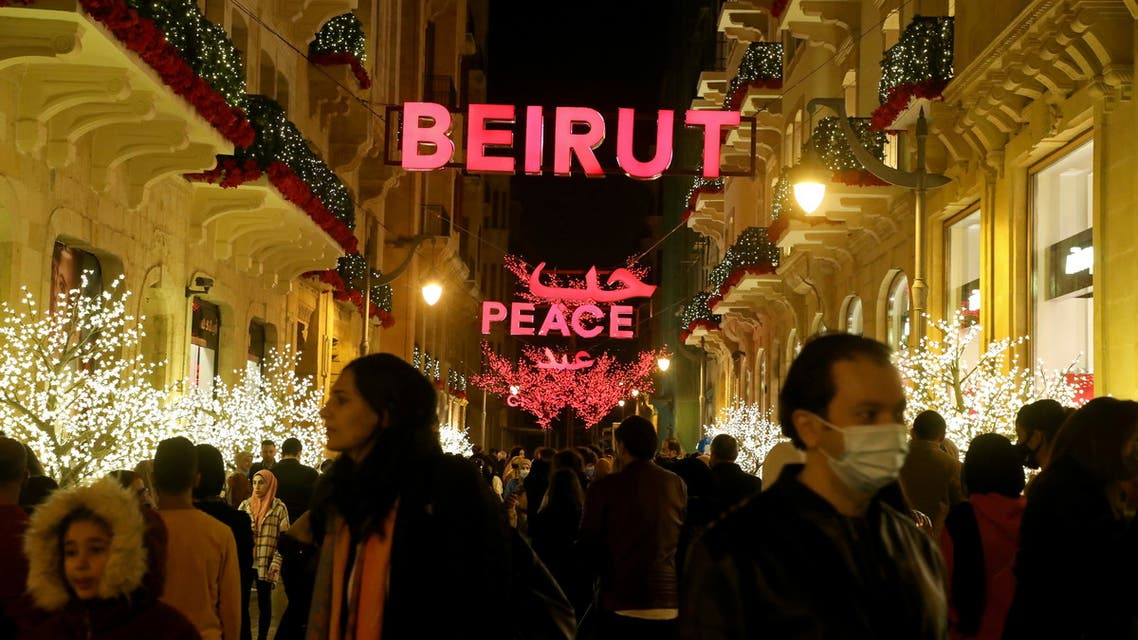 A sign reading Beirut is seen among Christmas decorations in downtown Beirut. (Reuters)