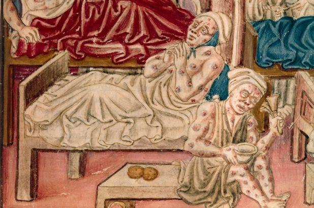 لوحة تجسد عددا من المصابين بالطاعون