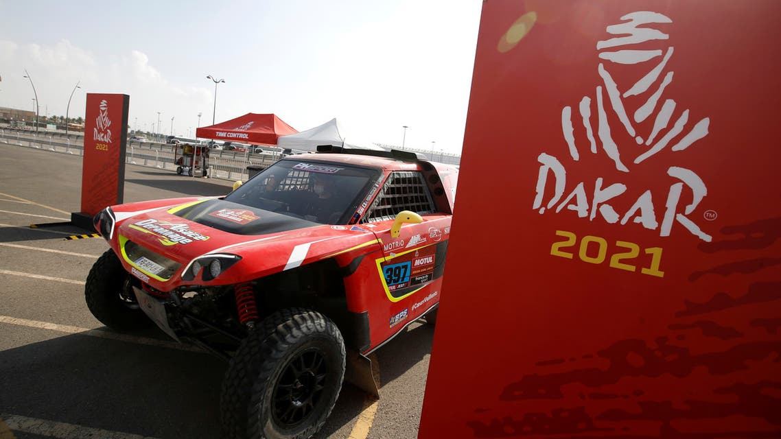 The car of JLT Racing's Jean-Luc Pisson and Co-Driver Valentin Sarreaud as teams prepare for the start of the Dakar rally. (Reuters)