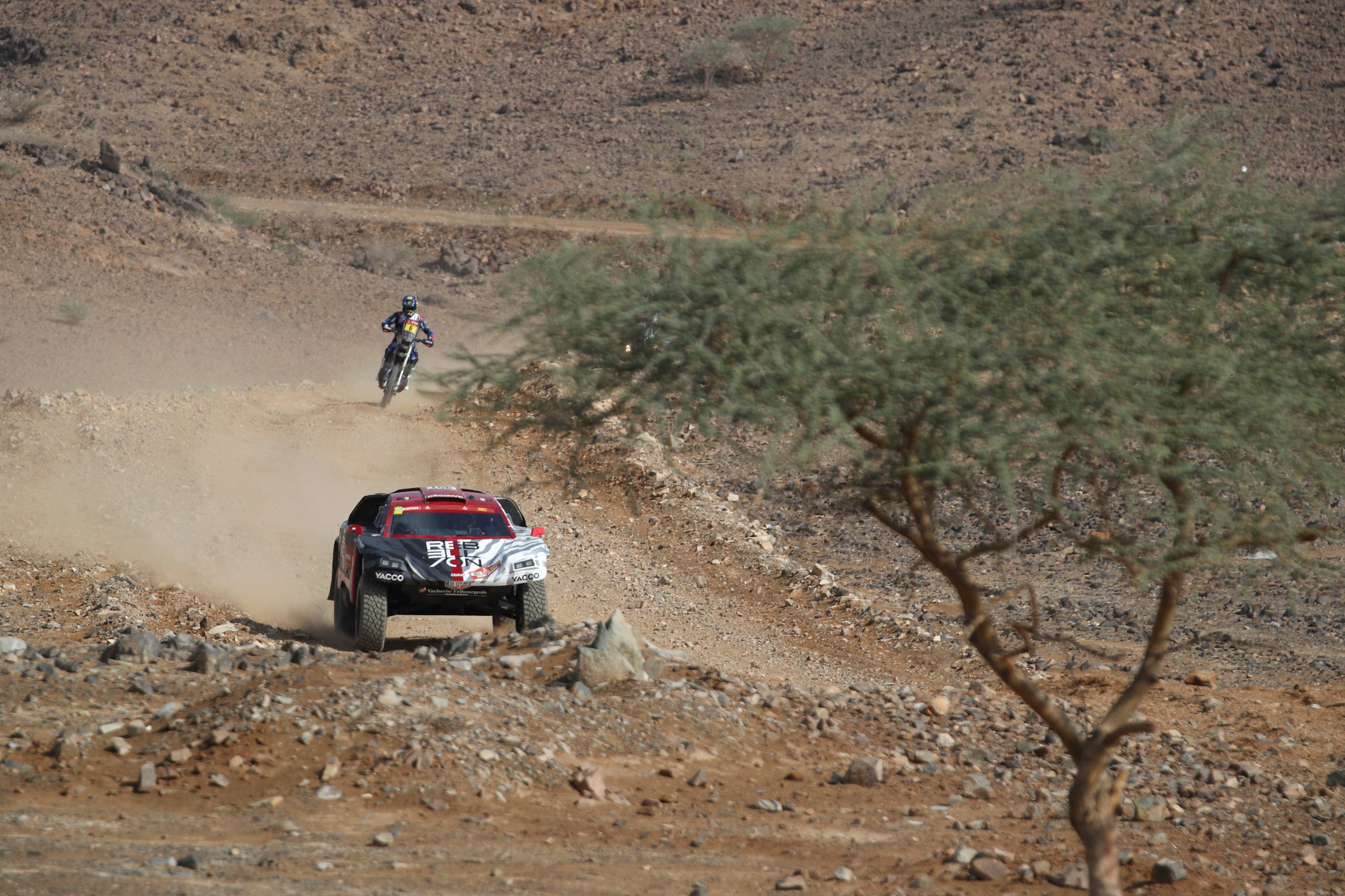 Rebellion Motors' Alexandre Pesci and Co-Driver Stephan Kuhni during the shakedown stage at the Dakar rally. (Reuters)