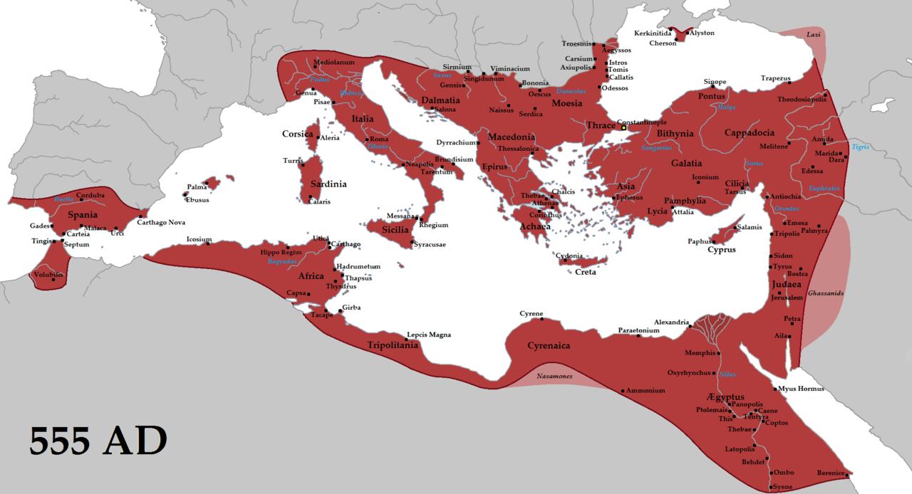 Mapa del Imperio Bizantino en 555