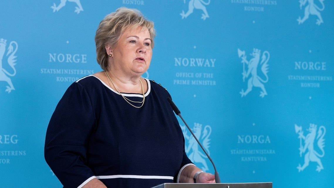 Norway's Prime Minister Erna Solberg speaks during a news conference about the coronavirus disease in Oslo, Norway September 3, 2020. (Berit Roald/NTB Scanpix/via Reuters)