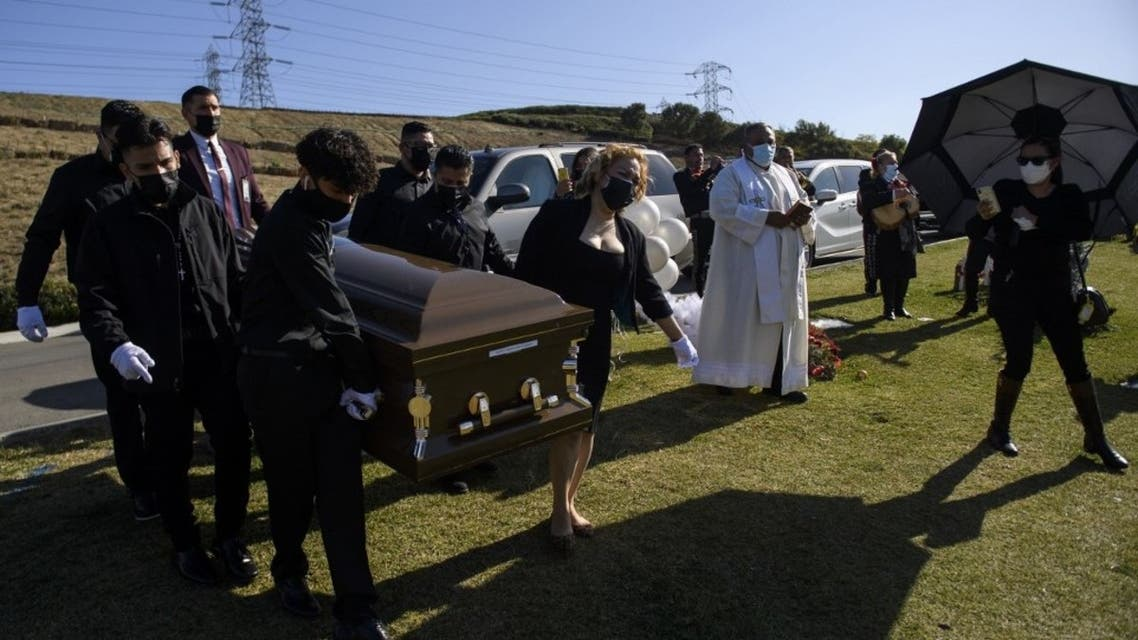 Pallbearers carry the casket of Gilberto Arreguin Camacho, 58, who died due to Covid-19, during his burial service at a cemetery in Whittier, California. (AFP)