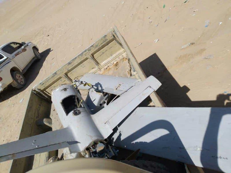 طائرة مسيرة حوثية تم إسقاطها مؤخراً في اليمن (أرشيفية)