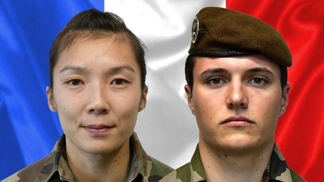 A combination released on January 3, 2021 by the press office of the French army (Sirpa) shows sergeant Yvonne Huynh (L) and Brigadier Loic Risser, the two French soldiers killed by an improvised explosive device in northeastern Mali on January 3, 2021. (AFP)