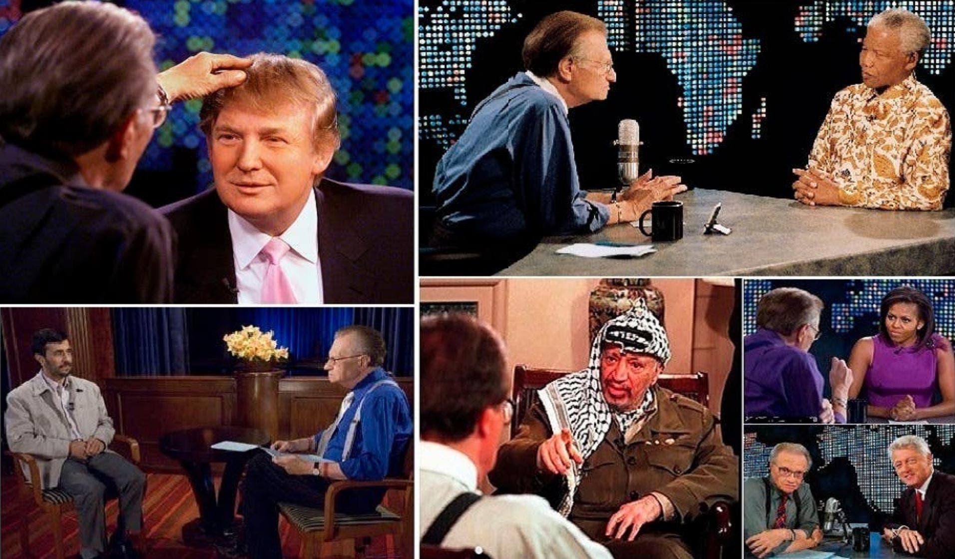 مع ترمب وميشيل أوباما والرئيس الأسبق بيل كلينتون، كما والرئيس الإيراني أحمدي نجاد إضافة للراحلين نيلسون مانديلا وياسر عرفات ومعمر القذافي