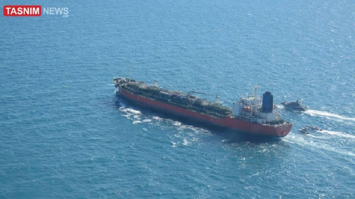 An image shared by Iran's Tasnim News Agency shows the seized South Korean tanker in the Arabian Gulf. (Twitter)