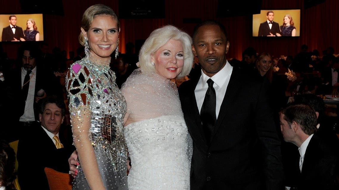 Model Heidi Klum, Ms. Tanya Roberts and singer Jamie Foxx attend the 19th Annual Elton John AIDS Foundation Academy Awards Viewing Party at the Pacific Design Center on February 27, 2011 in West Hollywood, California. (AFP)