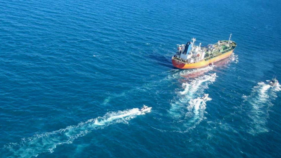 سفينة كوريا الجنوبية المحتجزة من قبل الحرس الثوري الإيراني (فرانس برس)